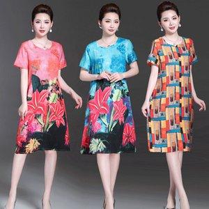 Middle-aged Women 2020 Summer Fashion Mother Dress Female Short-Sleeve Floral Print Dresses Vintage Casual Loose Vestidos S149