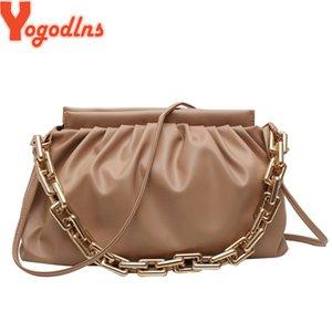 Yogodlns mode chaîne Sac à bandoulière pour les femmes Plissé Sac bandoulière en cuir loisirs Sac à main Femme PU Porte-monnaie