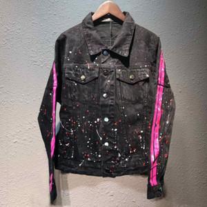2020 ABD tasarımcı sokak gelgit AMIRI kot giyim kot ceket AMIRI Amiri renk mürekkep kot ceket gelgit yüksek kaliteli hip hop womens yıkanır