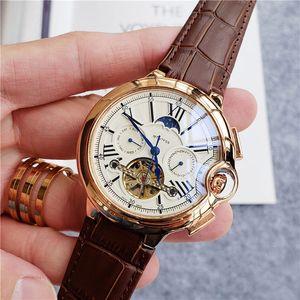 De alta calidad de los hombres de moda relojes Todo el reloj de movimiento de sub-marca el trabajo de fase lunar DayDate Wristwatche mecánico automático para hombre rejoles regalo