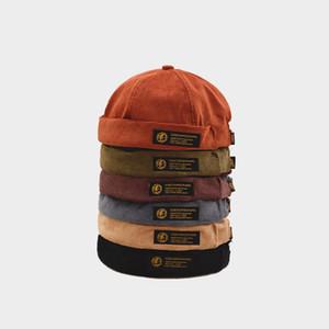 Ретро Вельвет Оригинал Docker Sailor Байкер Cap Brand Skullcap Мужчины без полей и Trend Хип-хоп Hat осень и согреваются Hat