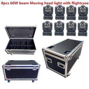 Kafa 60W RGBW 4in1 Beam'e Moving Head Işık / Amerikan Aydınlatma Mini LED Beam'e Moving Head + Kutu LED Nokta Hareketli 8 adet 60W LED Mini