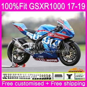 Injection Kit For SUZUKI GSX R1000 GSXR 1000 GSX-R1000 17 18 19 15HM.2 GSXR-1000 K17 L7 L8 GSXR1000 2017 2018 2019 Top Factory blue Fairing