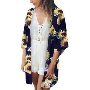 Hauts coupe-vent pour femme Beach Print Sunflower Maillot de bain Cardigan Maillot de bain Bikini Cover Up Taille Plus Abrigo Mujer Dropship L # 12