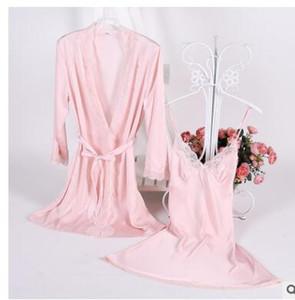 1931 Seksi Kadınlar Dantel İpek Saten Kimono Bornoz Gecelik elbise takımları Yarım Kol İç Pijama Pijama salon dişi Nightwe