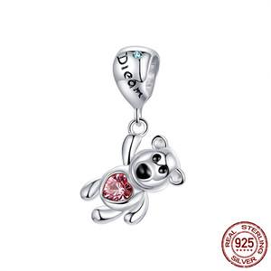 NEW 925 Sterling Silver Balloon Bear Charms Pendants fit Original Pandora Bracelet or Necklace Women DIY Fashion Jewelry