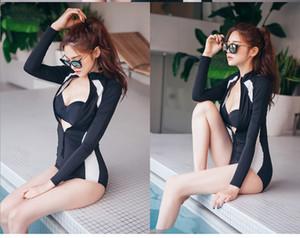 Студенческий купальник, цельный купальник с длинными рукавами на молнии на животе, тонкая высокая шея и консервативный купальник