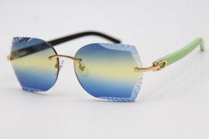 Envío libre 8200762A lente óptico de los vidrios sin rebordes tallado delicado unisex verde Mezcla Negro importación del tablón gafas de sol de alta calidad de la marca