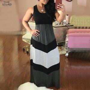 Дамы рукавов полосатой платье Женщины нашивки Строчка Свободный Цвет Полосатый Блок высокой талией Maxi длинное платье Robe Longue Femme