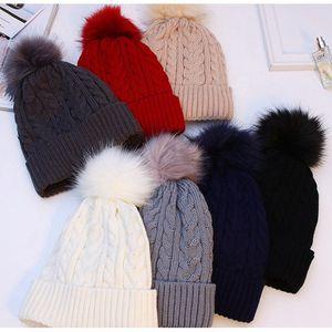 Kadın Kış Şapka Kalınlaşmak Sıcak Bayanlar Pom Şapka Beanie Kadınlar Örgü Şapka Kadın Ponpon Şapka ile Pompon İçin 2019 Kış Şapka
