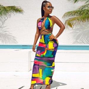 Sexy Backless Colorful Dresses Sleeveless casuale scava fuori di abbigliamento donna abiti stampati a pannelli Designer Womens Halter Dress