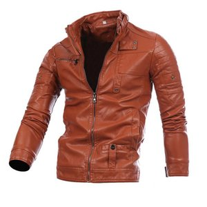 Men's Stand Collar Zip Pocket PU Leather Men's Long-sleeved Shirt Motorcycle Leather Jacket Casual Self-cultivation 4XL