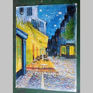 Vincent Van Gogh Of Cafe Terrace At Night Art Poster Giclee Hand Painted Canvas Oil Painting Wall Art For Living Room Home Decor No Framed