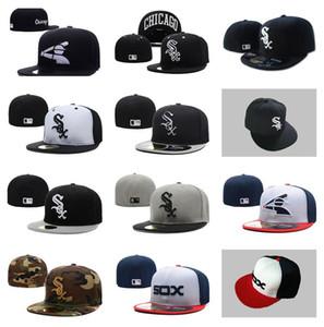 Großhandelsmänner auf Feld White Sox passten Hut Hochwertiger flacher Rand bestickten Buchstaben-SOX-Teamlogo Fans Baseball Hüte voll geschlossenen Hut