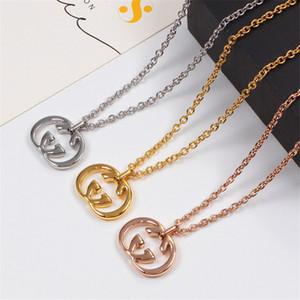 Lettre style simple collier pendentif long collier de titane en acier pour les amoureux High Street Hommes Colliers cadeau pour Girlfriend