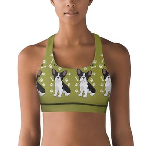 Women's Yoga VestFrench Bulldog cute bone Small Canine Breed Green design coolSports Bra humorous sports underwear French Chihuahua Dog