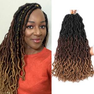 18 İnç Çingene Sahte LOCS Tığ Saç Dreadlocks saç Uzantıları Ombre Tanrıça LOCS Tığ Örgü Saç Uzantıları