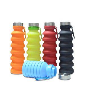550ML 19oz المحمولة زجاجة قابل للسحب سيليكون المياه قابلة للطي للطي القهوة زجاجة مياه الشرب السفر زجاجة الكؤوس والأقداح RRA2374
