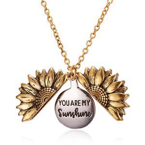 Dropshipping You Are My Sunshine Abrir Locket pendant girassol bijuterias Double-layer Carta Colares gravado jóias