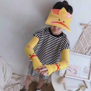 Bloqueador solar niños Niños Diseñador Protección solar Protección Sombrero + Sun manga moda de Nueva Sunblocks Dos niños Piece Casual Venta caliente del sombrero