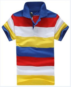 Men Striped Polo Shirts Small Horse Embroidery Mens Rainbow T-Shirts Slim Classic Polos Tops Male Tees Camisa Jersey Red Yellow