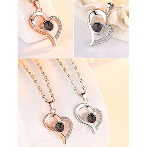 Les dames de Saint Valentin cadeau collier projection créatif argent sterling 100 sortes de « Je t'aime » langues 6 styles XD22945