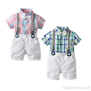 Baby Boy Outfits Plaid Toddler Boys Rompers Strap Shorts 3pcs Sets Infant Gentleman Clothes Sets Summer Baby Clothing YW3386