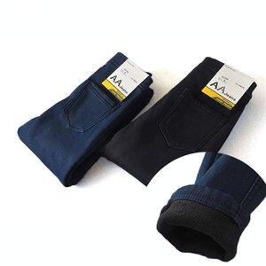 Jeans skinny invernali Donna Warm Addensare in pile Jeans a vita alta Pantaloni a matita Femme Casual Slim Pantaloni in denim elastico Pantaloni Y190430