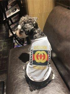 도매 여름 패션 통기성 메쉬 티셔츠 캐주얼 스타일 편지 인쇄 통기성 개 티셔츠 고품질 애완 동물 의류
