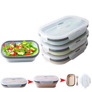 실리콘 도시락 상자 Collapsible 휴대용 상자 그릇 도시락 상자 접는 식품 용기