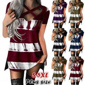 Scollo a V stampata delle donne magliette estate del progettista manica corta signore lunga Tees strisce casuale Top Femminili