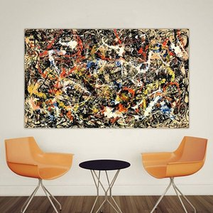 "Jackson Pollock ""Convergence"" High Quality Handpainted & HD Print Home Decor Wall Art Grafiti Abstract Art Oil Painting On Canvas.jk16.64"