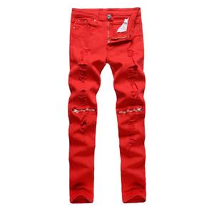 Los hombres del agujero de la rodilla de la cremallera Puro Corte putrefacto largos pantalones ocasionales de los pantalones de estiramiento delgados Pies club nocturno de marea pantalones