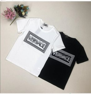 2019 Explosion embroidery letter T-shirt men's women's high-quality box letters casual fashion short sleeve