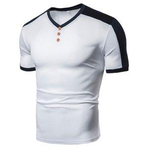 여름 남성 일반 스티칭 스트라이프 V 넥 청소년 짧은 소매 T 셔츠 티 셔츠