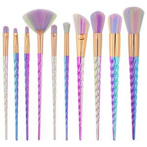 10pcs Unicorn Makeup Brushes set With Colorful Bristles Unicorn Horn Shaped Handles Fantasy Makeup Tools Foundation Eyeshadow
