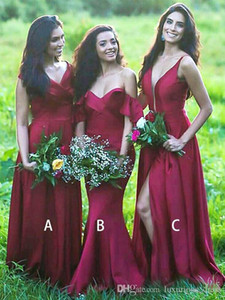 Borgogna Satin Mismatched Semplice scollo a V Abiti da damigella d'onore Matrimoni Guest Dress Formid Maid of Honor Abiti da festa africana