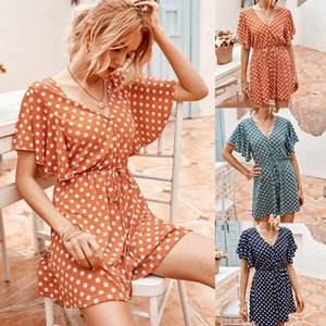 Polka Dot Summer Womens Jumpsuits V Neck Loose Casual Ruffle Sleeve Womens Designer Rompers Elastics Waist Solid Color Summer Womens Rompers