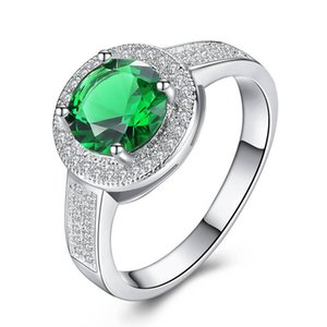 Women Ring White Gold Ring Green Zircon Ring Charm Personality Party Wedding Jewelry Women Jewelry Accessories Girlfriend Gift