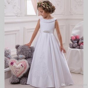 Princesa Vestidos de flores para niñas Sin mangas Vestido de novia para niños Satén y tul Desfile Gilr Dressess