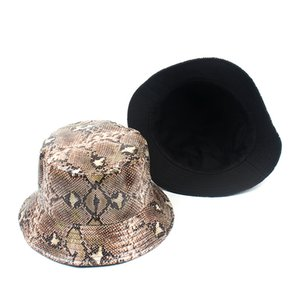 2019 New PU Leather Bucket Hat Women Doubld side K Pop Hip Hop Caps Snake skin Gorros Casual Cotton Cap Color Fisherman hat
