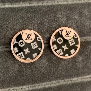 venda quente Alta Qualidade Moda 316L titânio preto rosa brincos de prata do casamento da flor de ouro para as mulheres amantes homens jóias presente de Natal