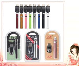 5Pcs Hot 350/650 / 1100mAh Vorglühen Batterie Blister Kit LAW V-Vape Vertex LO VV Battery Charger Kit für 510 Gewinde dickes Öl Cartridges Behälter