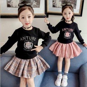 Roupas mangas compridas de Outono vestido Crianças Jacket Malha Short Skirt Two Piece Set menina Suit 0201