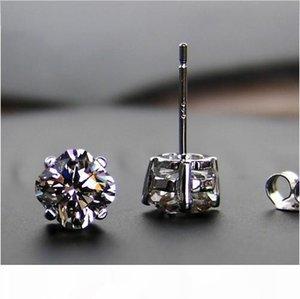 Großhandelsqualitäts-2 ct Paar Einzigartige geschnitten SONA synthetische Kohlenstoff-Diamant-Sterlingsilber Hochzeit Ohrringe für Frauen Weißgold 18K überzogen