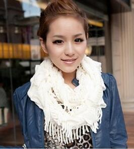 Womens Winter Warm Knitted Layered Fringe Tassel Neck Circle Shawl Snood Scarf Cowl Girl Solid Long Soft Infinity Scarves Wraps