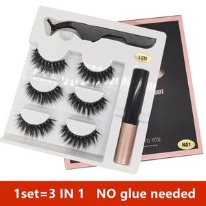 14 styles 3 Pairs Magnetic Eyelashes False Lashes +Liquid Eyeliner +Tweezer eye makeup set 3D magnet False eyelashes No Glue Needed DHL free