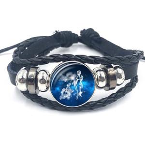 12 Zodiac Constellation Sign Jewelry Glass Dome Taurus Leo Pisces Libra Punk Black Button Braided Leather Bracelet for Men Women