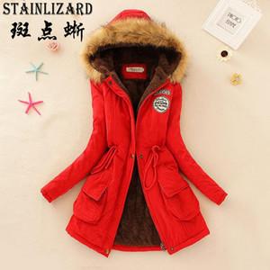 Atacado- STAINLIZARD Fahion Mulheres Winter Brasão Casual Mulheres de algodão roupa vermelha com capuz Parkas longos e grossos Ladies morno mulheres Jacket CJT142