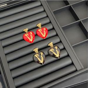 Labirinto a forma di V Rosso Amore orecchini femminile netta temperamento piccolo rosso esagerazione femminile Euro americano orecchini versione alta